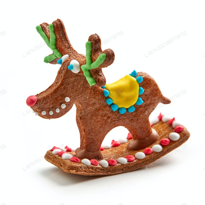 gingerbread deer on white background