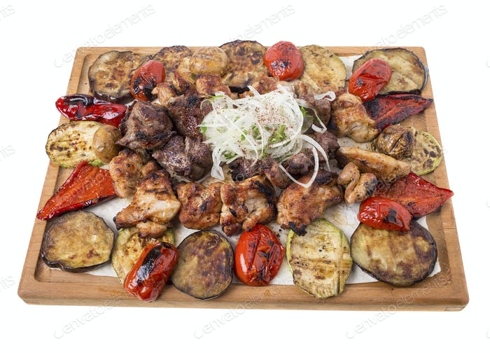 Mixed grilled meats platter.