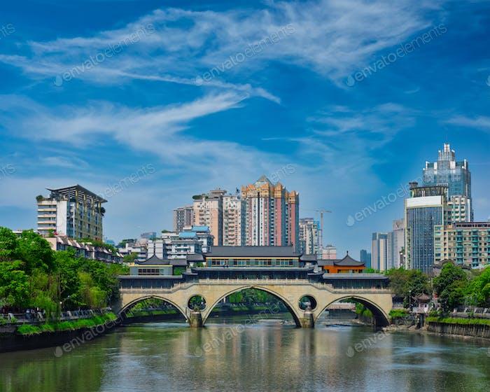 Anshun bridge at day. Chengdu, China
