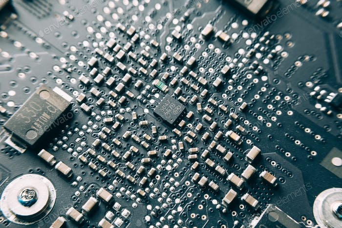 Printed Circuit Board with electrical components.