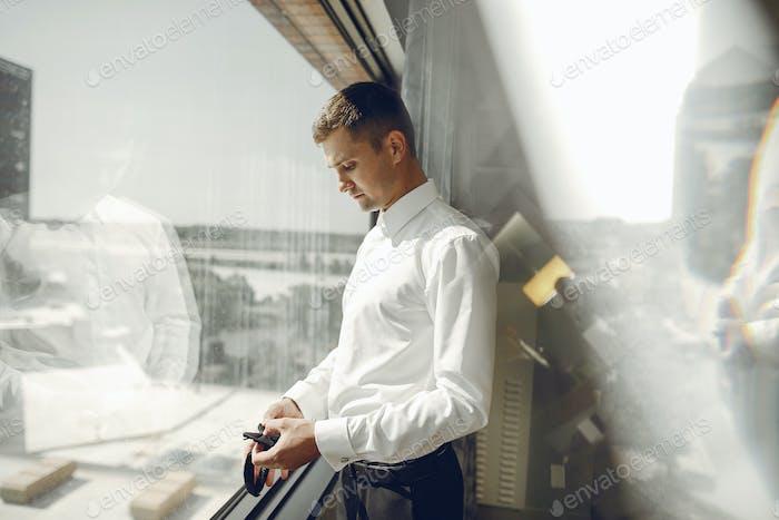 Man near window
