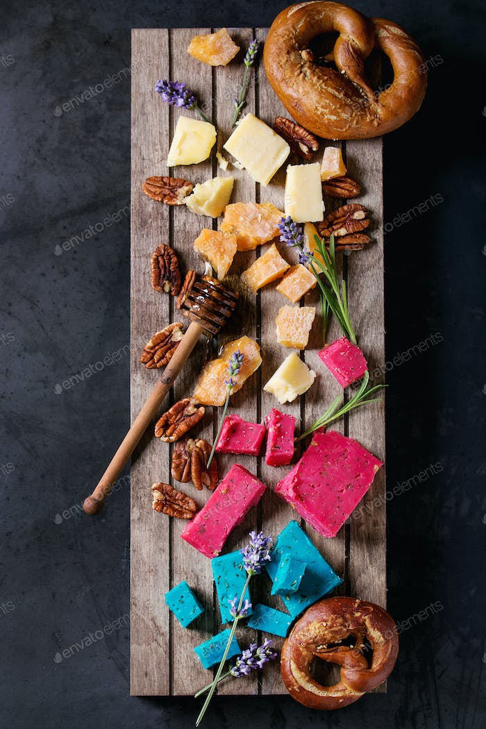 Variety of colorful holland cheese