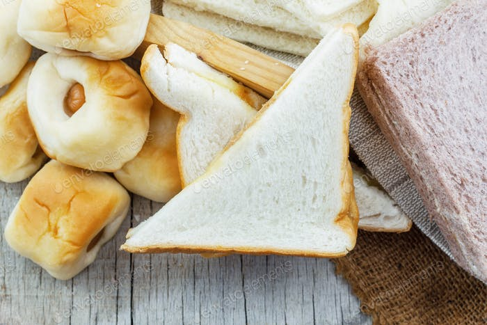 fresh bread on wooden