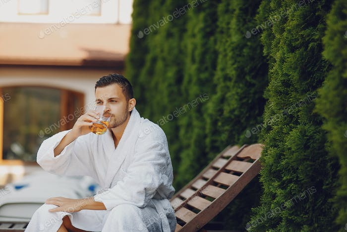 man with whiskey
