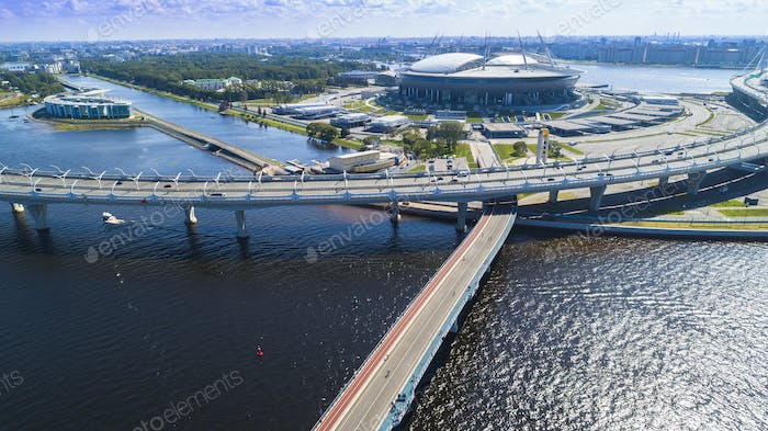 Aerial view of the stadium Zenit Arena