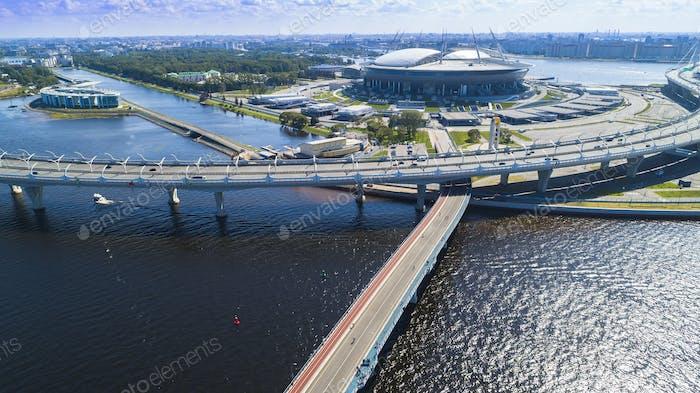 Luftaufnahme des Stadions Zenit Arena