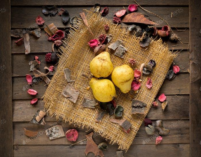 pears on wood