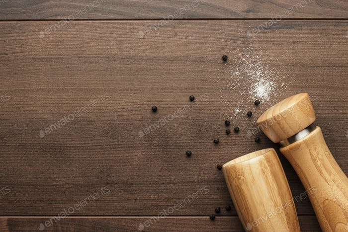 Wooden Pepper Mill And Salt Shaker