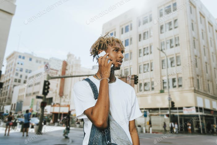 Young guy with dreadlocks in downtown LA