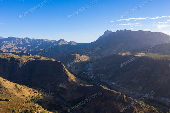 Aerial view of Santiago island in Cape Verde - Cabo Verde