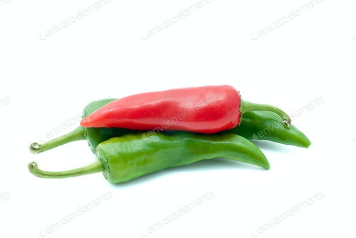 Some red and green chili peppers