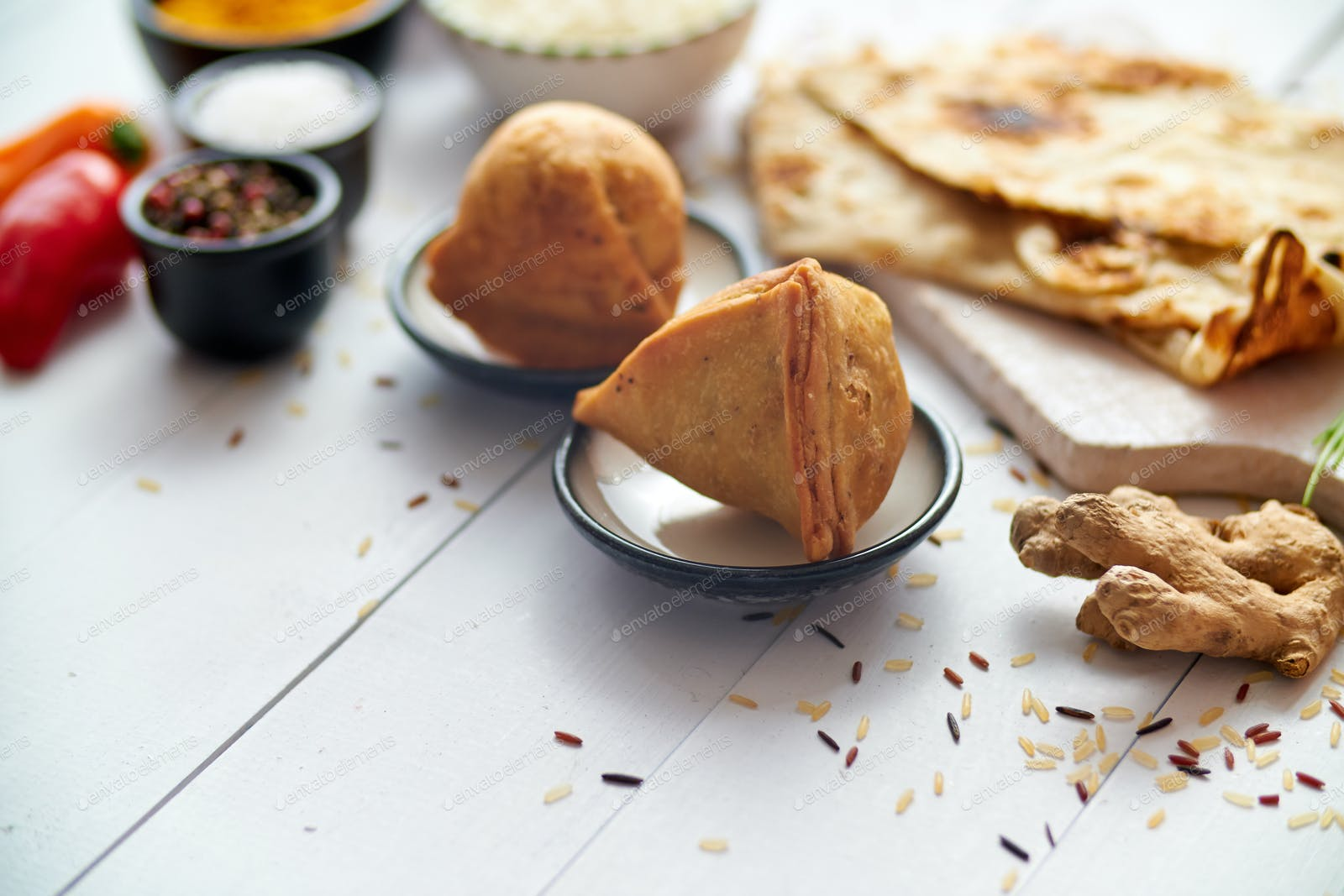 Traditional Indian Food Snack Samosa Served In A Plate On A White