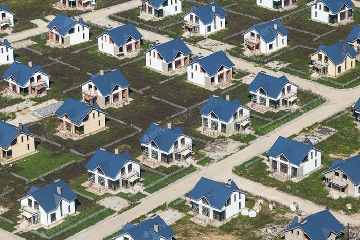 above view of new cottages with lawn