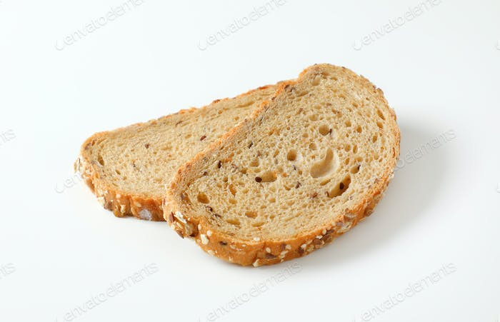 Two slices of whole grain bread
