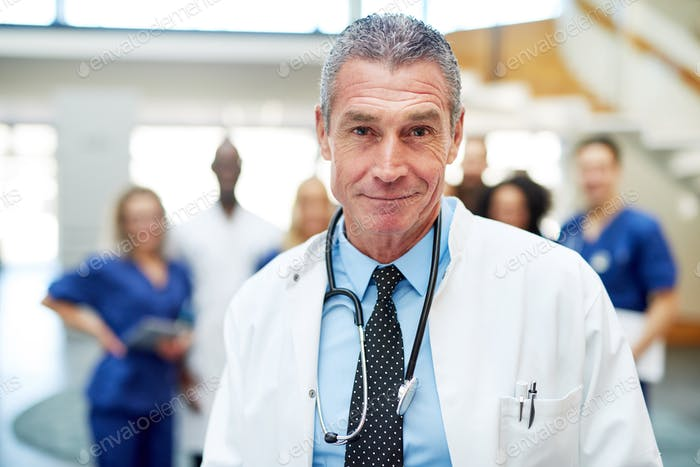 Portrait of adult cheerful doctor in hospital