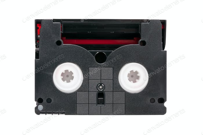 MiniDV video cassette on white background