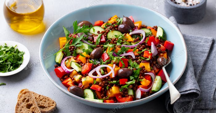 Lentil Salad with Mix Vegetables in bowl. Grey Background.