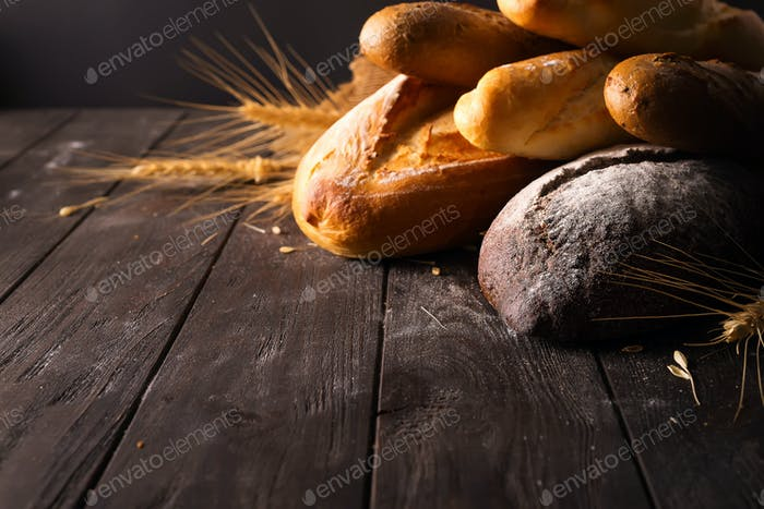 different kinds of bread with cereals isolated
