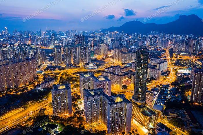 Kowloon Bay, Hong Kong 25 April 2019: Top view of Hong Kong cityscape at night