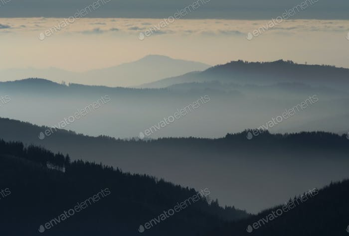 Hills in the mist