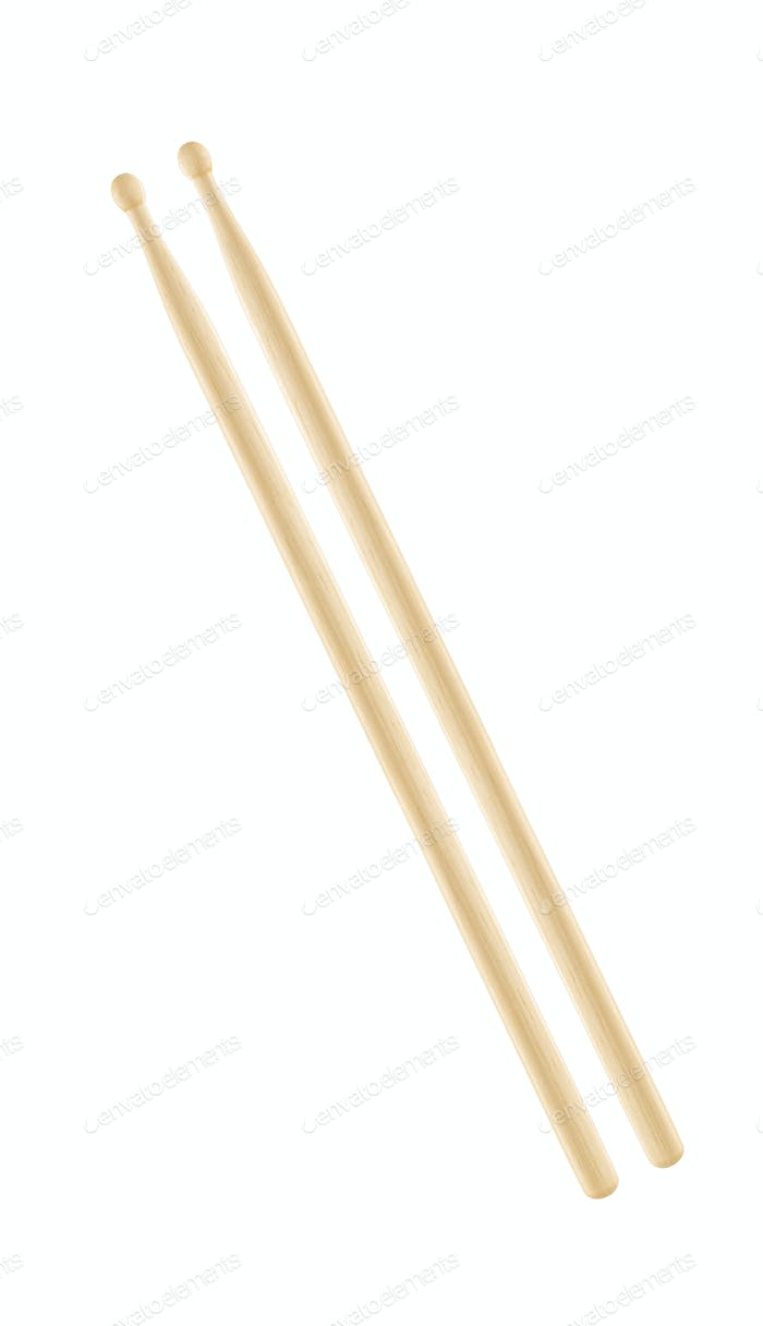 Two wooden drumsticks isolated on white background