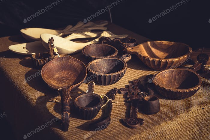 Handmade wooden bowls with handle and vintage spoons