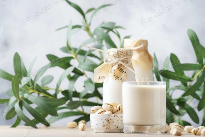 Vegan Pistachio nut milk in bottles