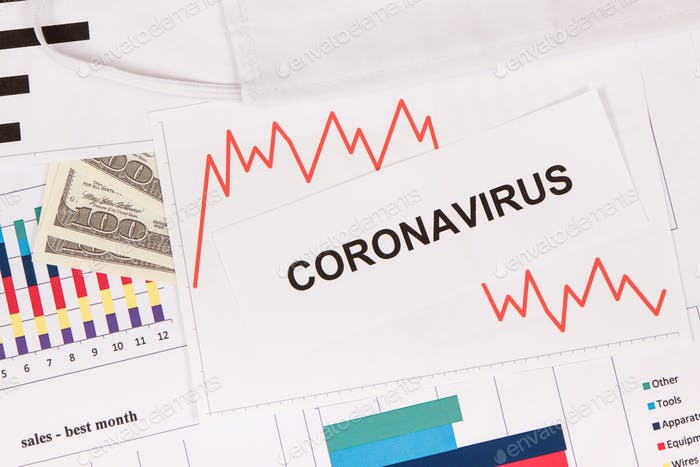 Inscription coronavirus, dollars and downward graphs