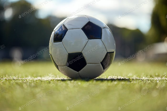 soccer ball on football field