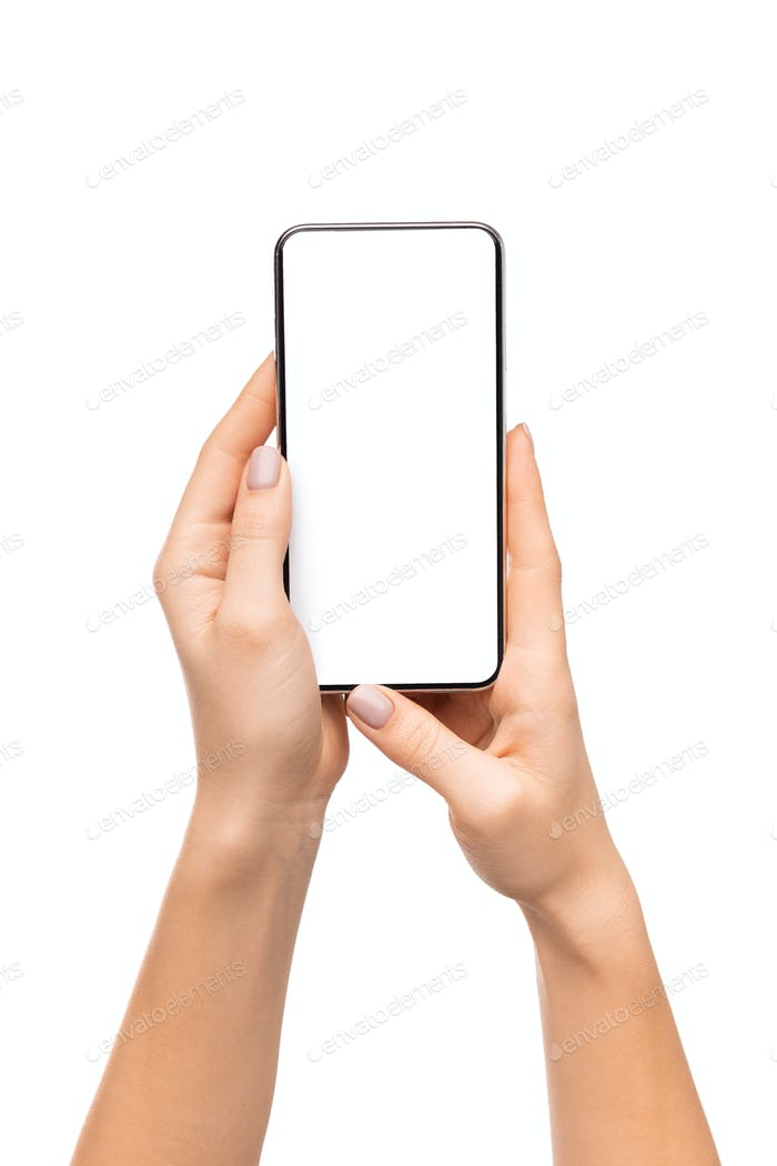 Modern smart phone with blank white screen in woman's hands