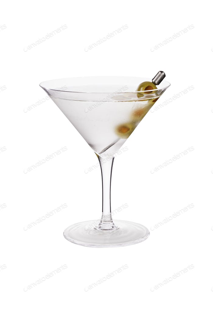 Refreshing Vodka Martini Cocktail with Olives on White