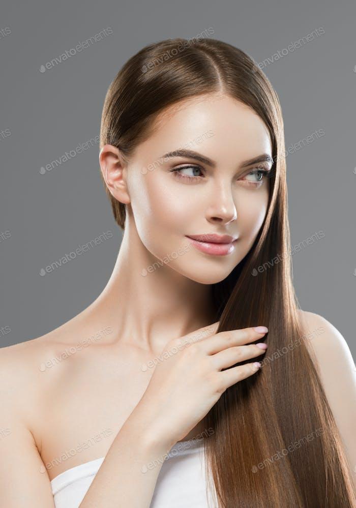 Healthy long shine brunette hair woman cosmetic beauty