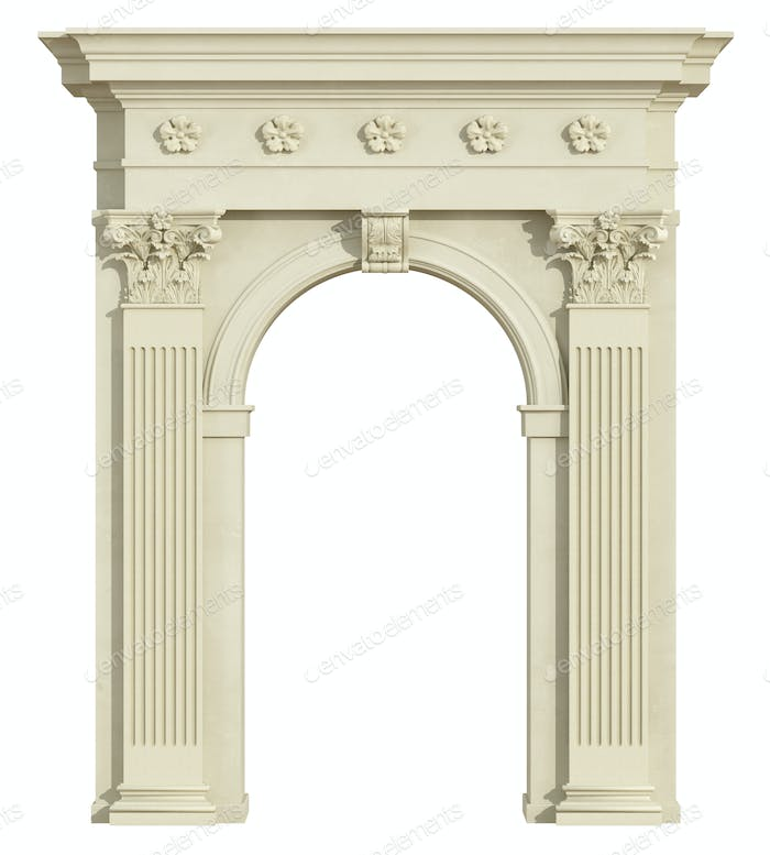 Front view of a classic arch with Corinthian column