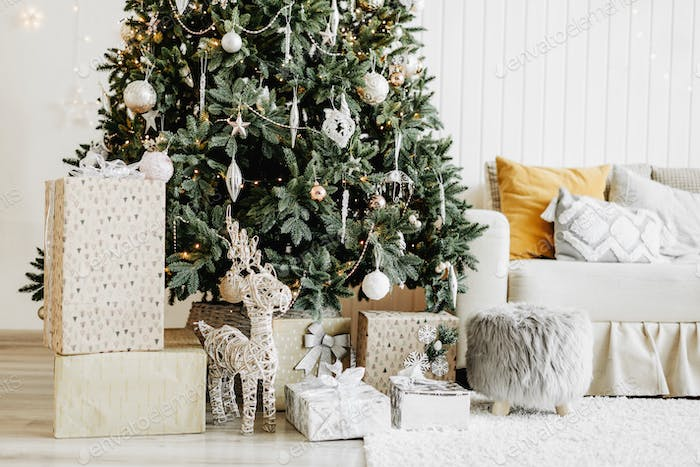Decorated Christmas room with gifts