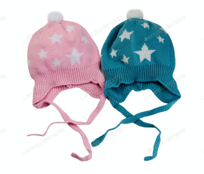 Two knitted hat with stars.