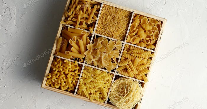 Box filled with assorted macaroni
