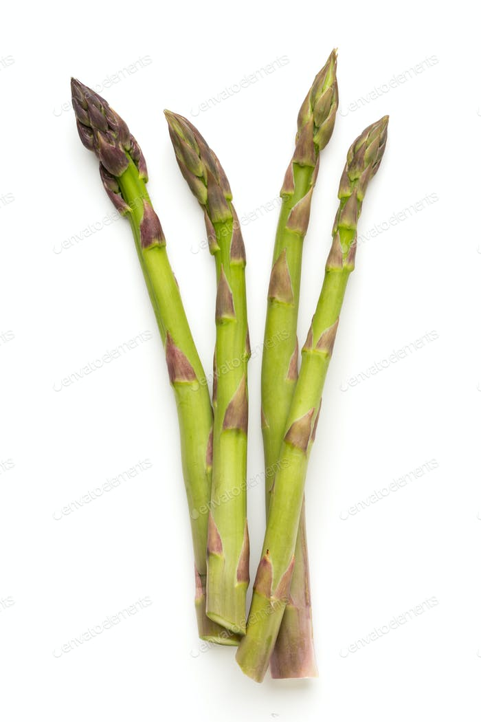 Fresh green asparagus on white background.