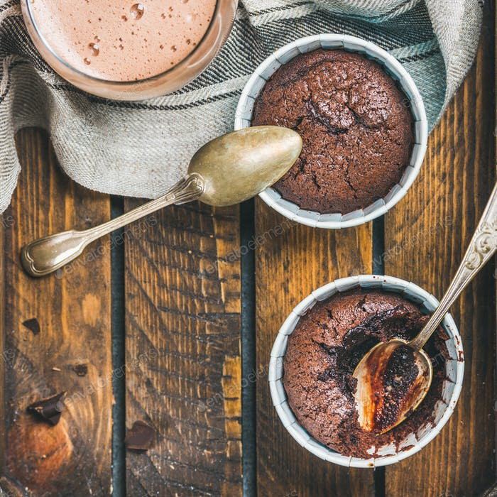 Chocolate souffle in baking cups and mocha coffee, square crop