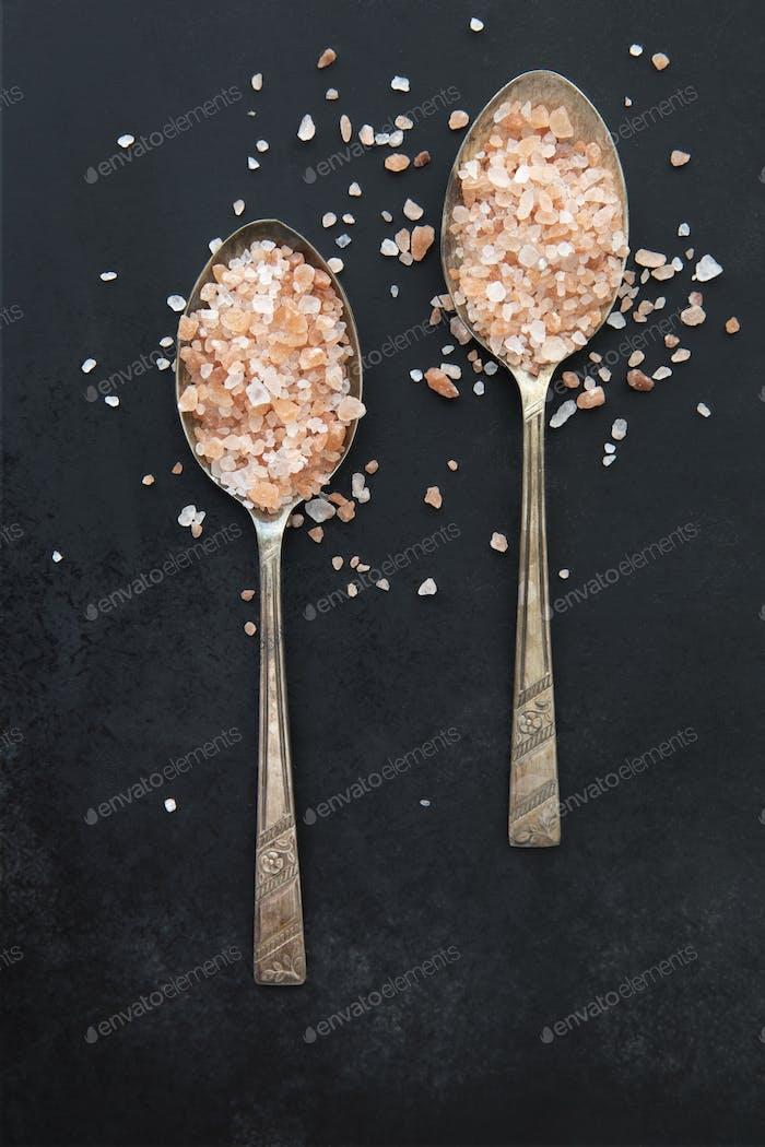 Pink Salt in Spoons