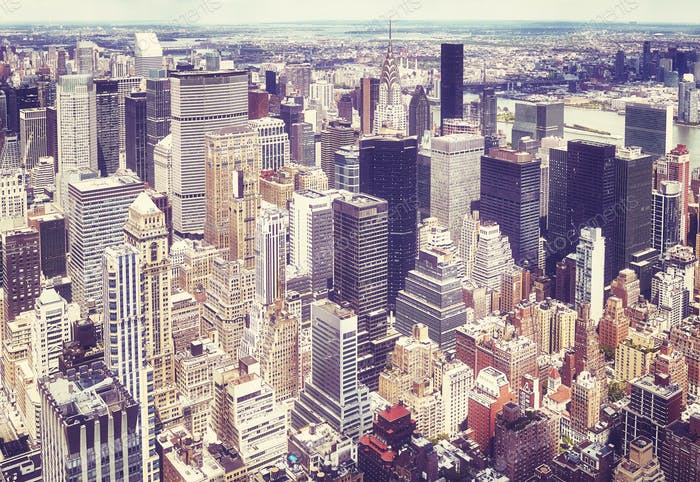 Aerial view of the Manhattan, New York, USA.