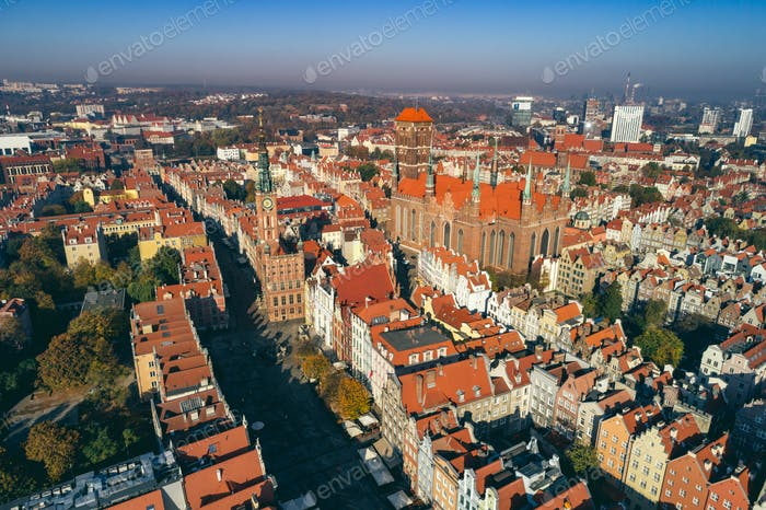 Aerial view of Old Town in Gdansk, Poland.
