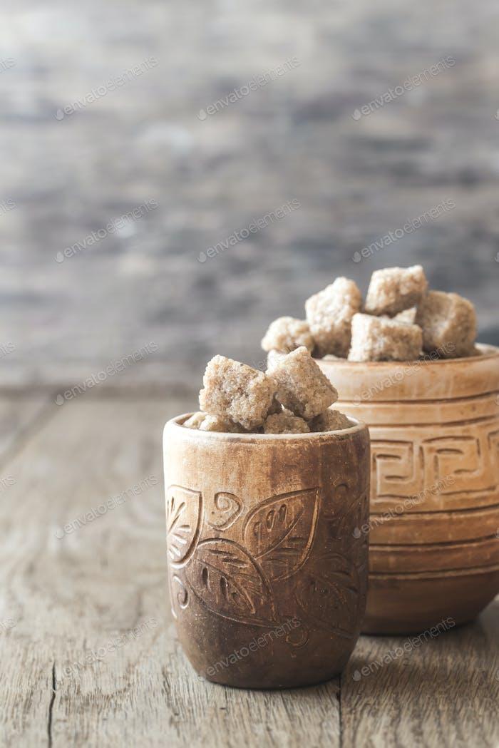 Bowls of brown sugar