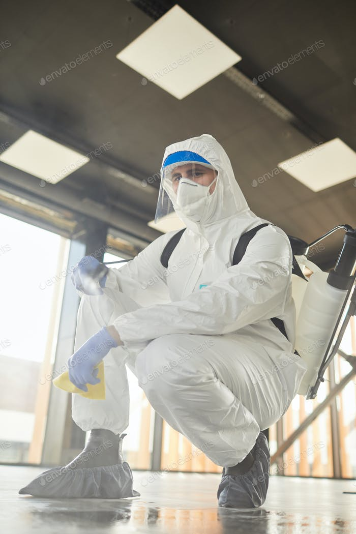 Chemical Cleaning Worker Indoors