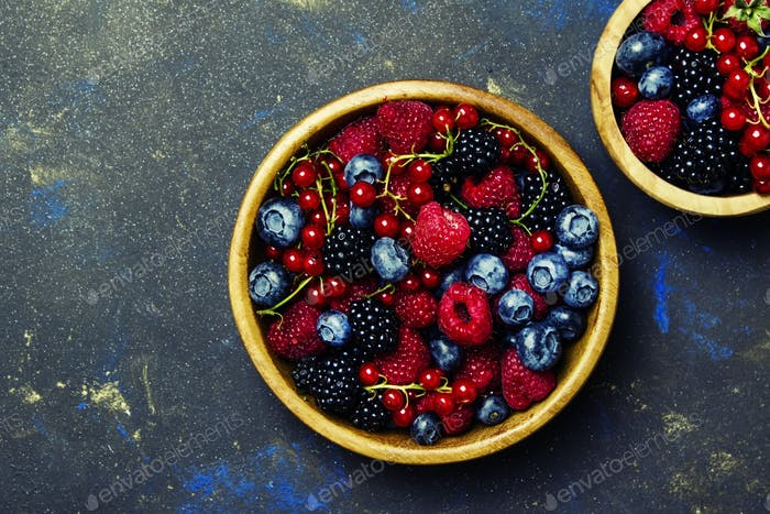 Colorful summer berries in assortment