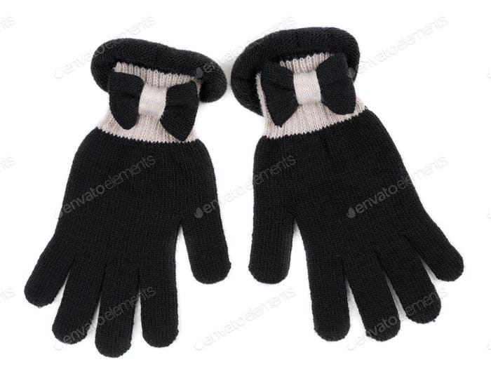 Black Gloves on White Background