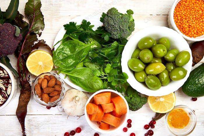 Liver detox diet food concept . Foods for healthy liver