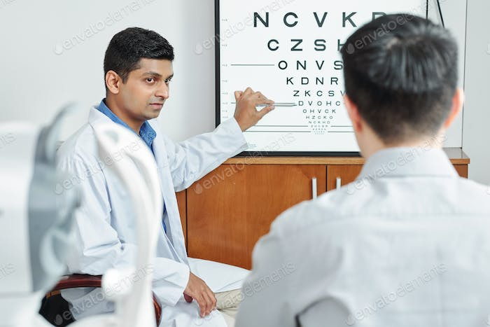 Patient at optometrist's office