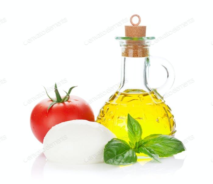 Mozzarella cheese, olive oil, tomato and basil