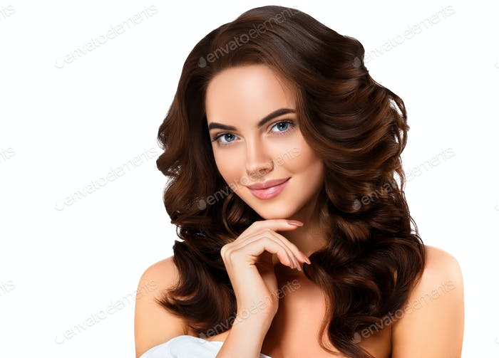 Beauty woman healthy skin long brunette hairstyle manicure nails isolated on white