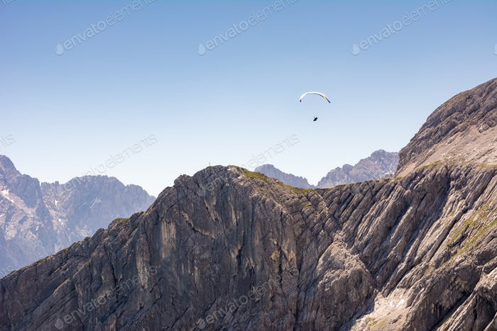Paraglider in the alps of Bavaria